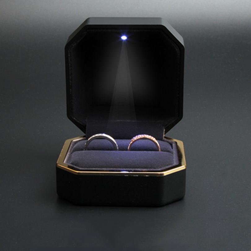 حلقة مع صندوق LED ضوء عرض مجوهرات علبة هدية لاقتراح، خطوبة، زفاف
