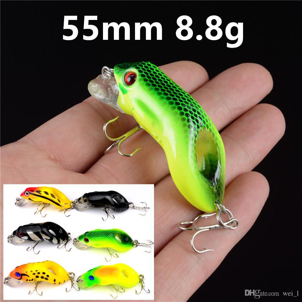 1pcs 6 Couleur 55 mm 8,8 g Frog pêche crochets 6 # Crochet Hameçons plastique dur Appâts Leurres Pesca Pêche Tackle Accessoires WE_18