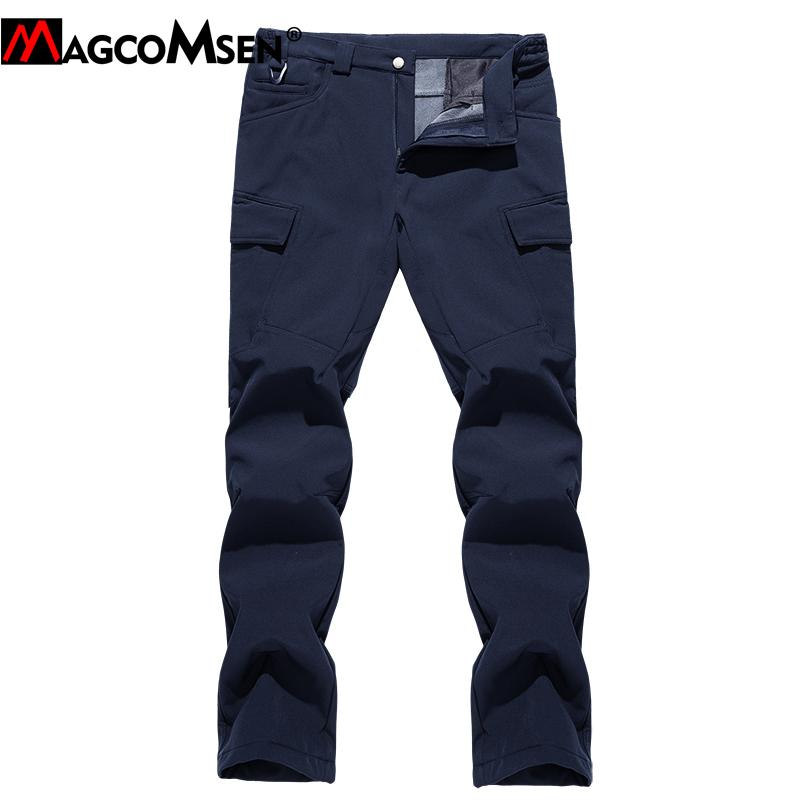 MAGCOMSEN Winter Softshell Pants Men Fleeced Tactical Pants Thicken Waterproof Straight Hike Snow Pant Outdoor Trousers