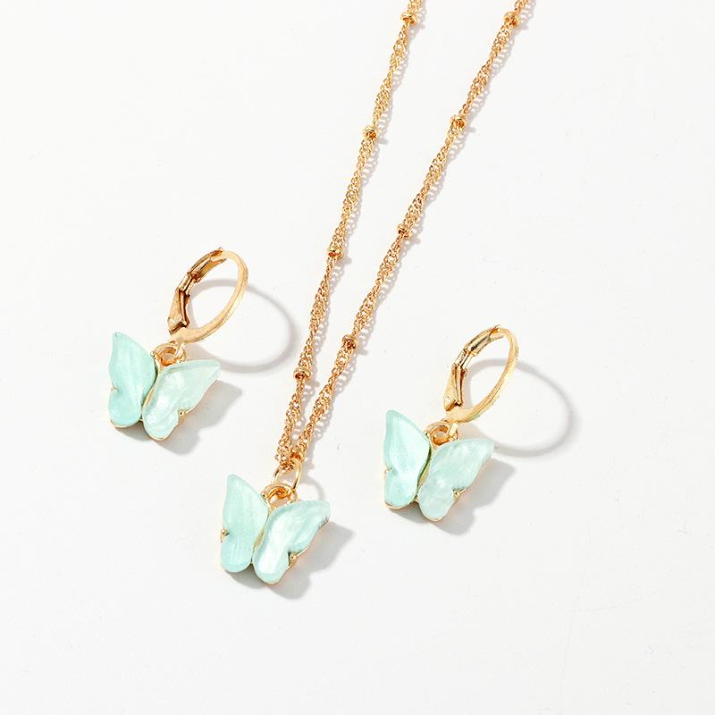 Nuevo 2020 Natural mariposa de la resina de la joyería joyería Conjunto de inserción de los pendientes pendientes del collar de la moda para las mujeres