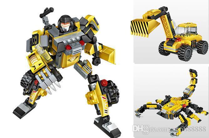 Small Diamond Building Blocks for Children's Intelligence Inter-border Toy Mini Transformer Robot