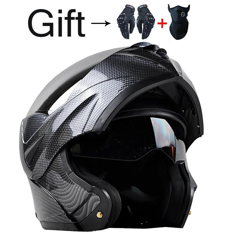 Special Offer Best Sales Safe carbon fibre Moto racing Helmets Flip Up Helmet full Face helmet Double Lenses DOT