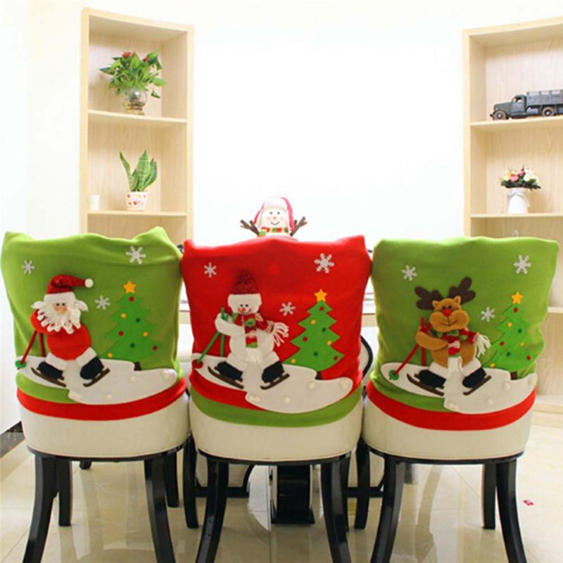 New Arrive Skidding Santa Claus Christmas Backrest Chair Cover Set Xmas Party Decor Chairs Dinner Party Skiing Style IC880650