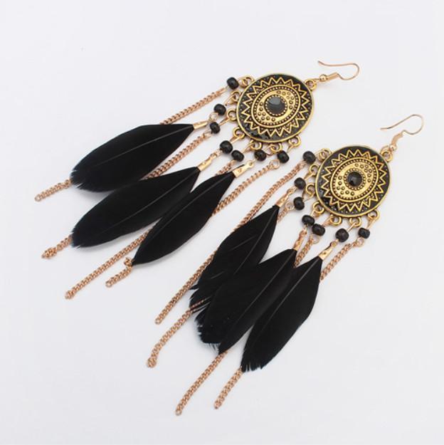 люстра серьги ювелирные изделия мода женщины Богемия красочные перья позолоченные цепи кистями сплава длинные мотаться серьги Оптовая ER736