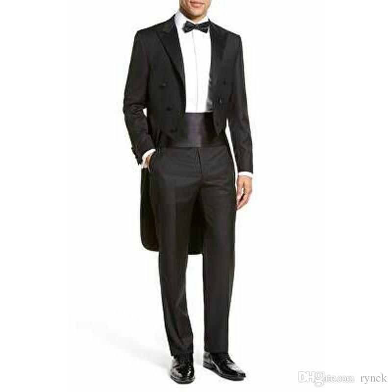 Classy Black Tailcoat Men Suits for Wedding Morning Party Groomsmen Long Jacket Slim Groom Tuxedos Man Blazer 2Piece Terno Masculino