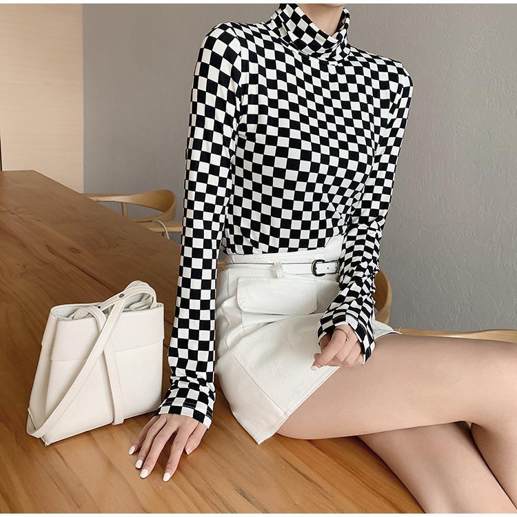 Рубашка с длинным рукавом женщины Весна 2020 корейский стиль винтаж черный белый шахматная доска Хаундстут Черепаха шеи футболка топ femme