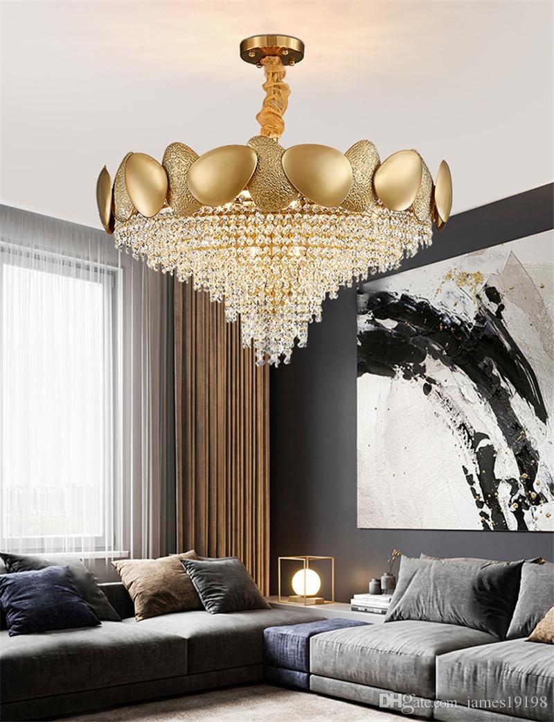Современная роскошная золотая хрусталь металлическая люстра дома живущая комната подвесной светильник светло-декор крепеж PA0593