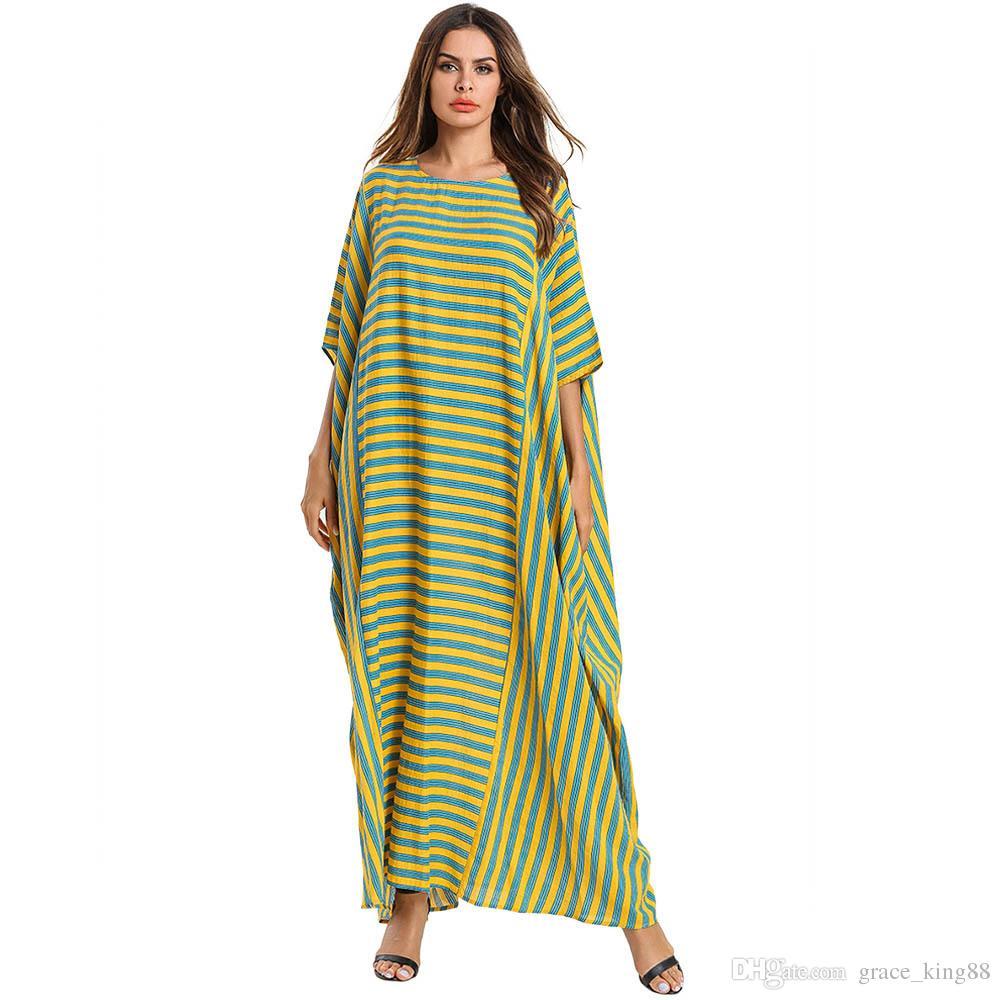 2019New Mulheres Plus Size Roupas de Verão Plus Size Vestido Túnicas Muçulmanas Moda Listrado Bolso Longo vestido Solto vestido Robe Vestido