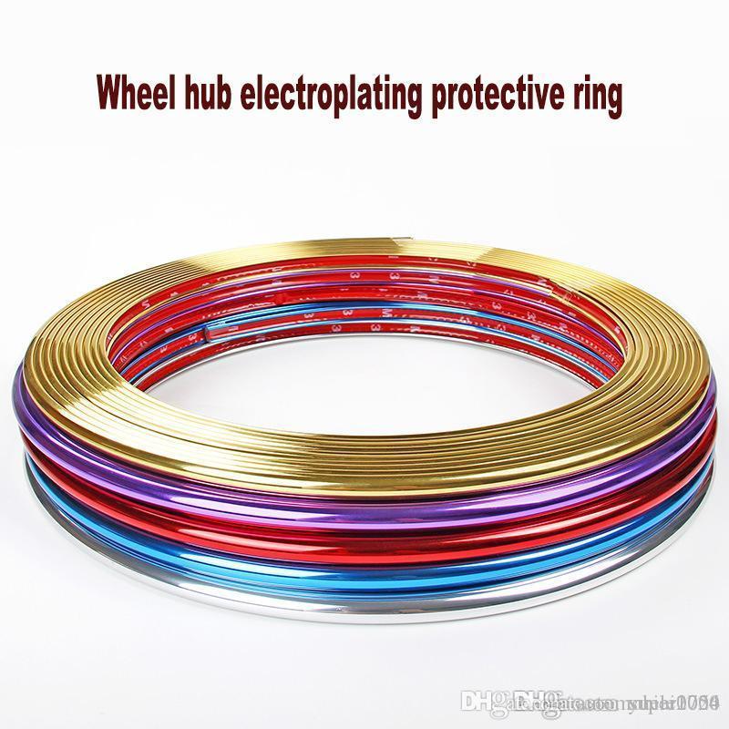 8M-Aufkleber PVC-Streifen getrimmte Grille Lampen Felgenchromfelgen Dekoration Schutzmittel Car Styling für Autofelge Nabenschutz