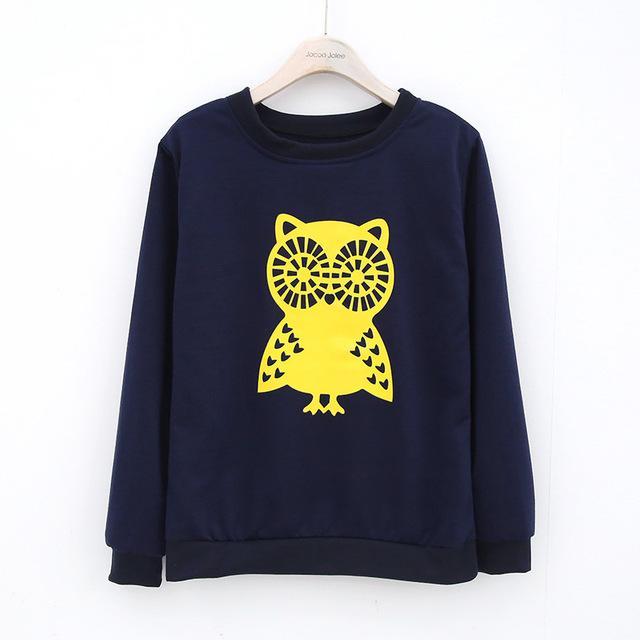 Jocoo Jolee O-Cou Femmes Pulls Hibou Imprimer Casual Sweats À Capuche Sweat Mode Nouvelle Marque Rue Vêtements 2018 Printemps Nouvelle Arrivée
