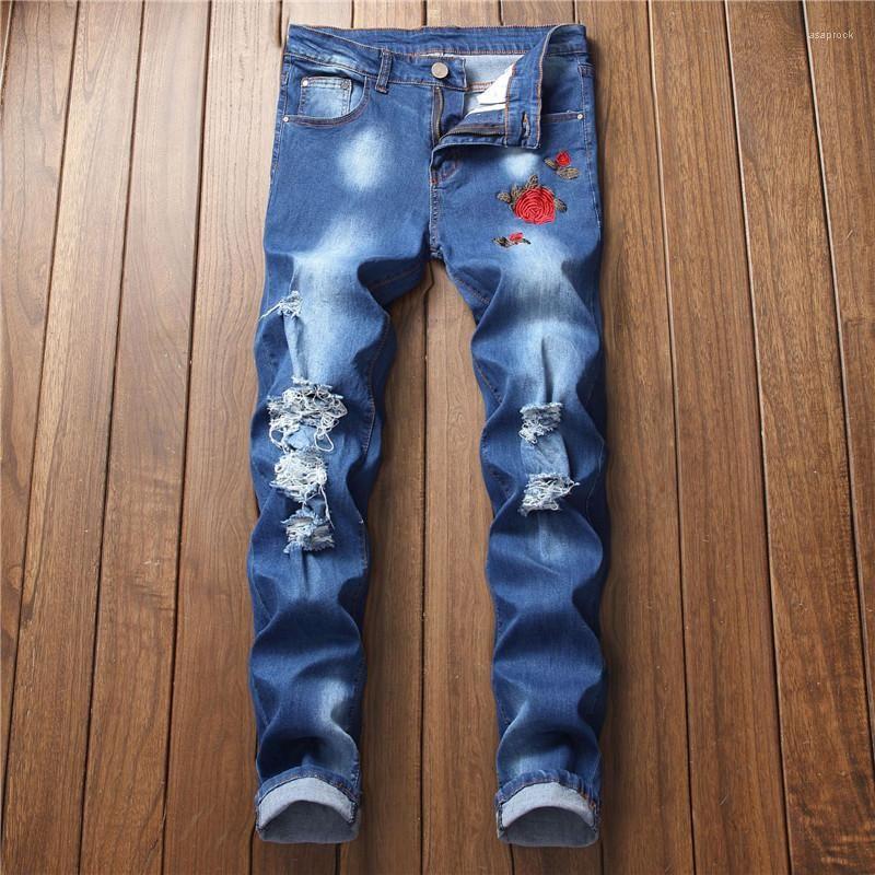 Jeans Rose ricamo progettista del Mens Holes Jeans Blu Colore Hiphop denim sottile dei pantaloni della matita Uomo Casual