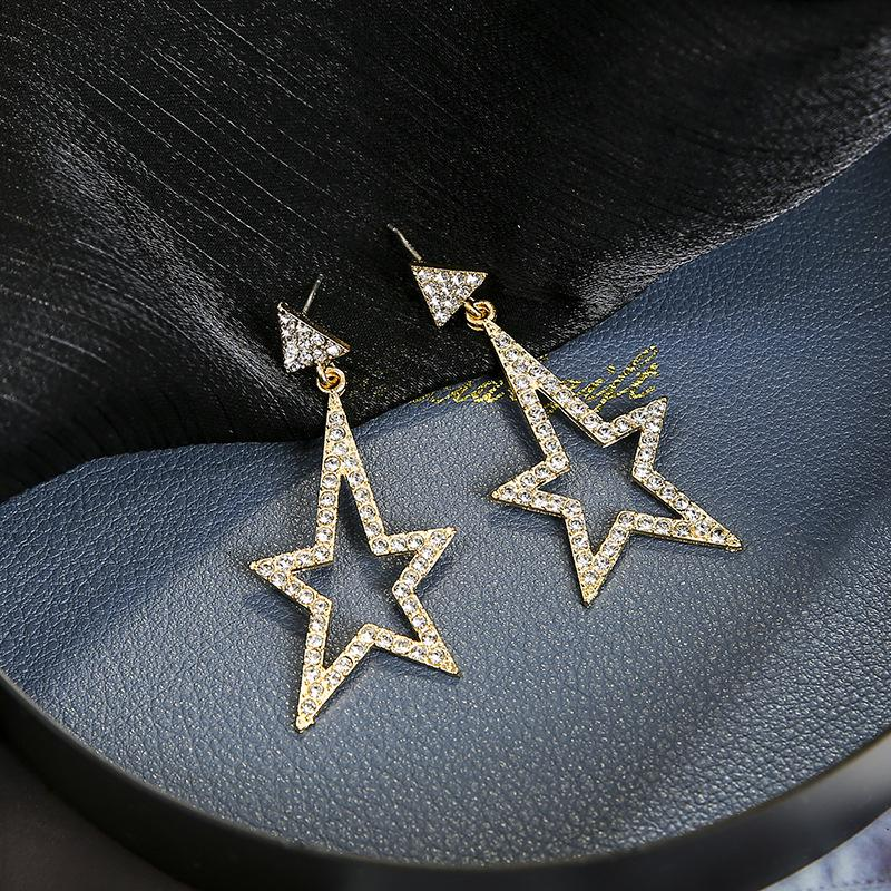 Fashion Earrings Gold Silver color Temperament Wild Long Five-pointed Star Ladies Punk Exaggerated Big Ear Nails Wholesale