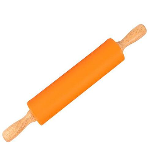 1pcs Wooden Handle Non-stick Silicone Rolling Pin Dough Roller Kitchen Tool VJ