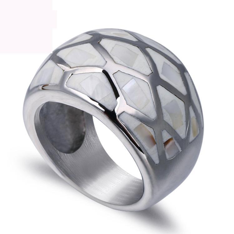 Yüksek kaliteli kabuk parmak yüzük moda takı titanyum çelik yüzükler kadınlar için moda takı moda döküm yüzük ücretsiz kargo