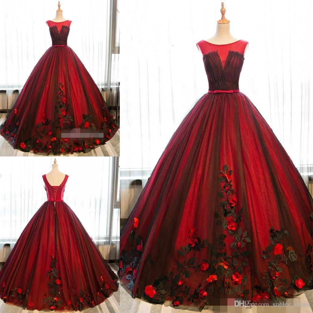 2020 3D Applique floreale Borgogna Quinceanera Abiti Sheer Neck Nero Pizzo Custom Made Sweet 16 Princess Pageant Party Ball Gown