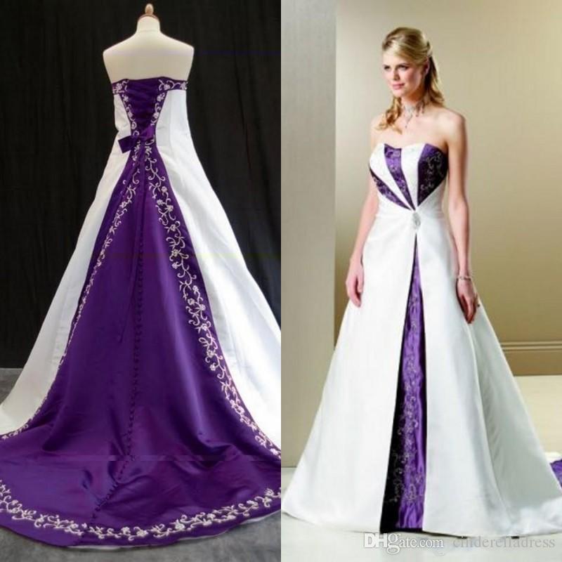 2020 Elegancki Biały i Fioletowy Haft Suknie Ślubne Kraj Rustykalne Vintage Bridal Fancy Suknie Wyjątkowy Bez Ramiączek Plus Size Sweep Pociąg