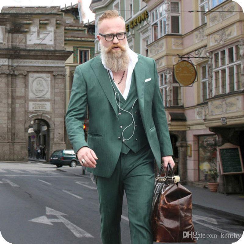 Klassische Gentle Green Men Klagen der Wedding Smoking-Bräutigam-Abnutzungs-Weit Revers Mann Blazer Groomsmen Outfit 3Piece Kostüm Homme Terno Masculino Peaked