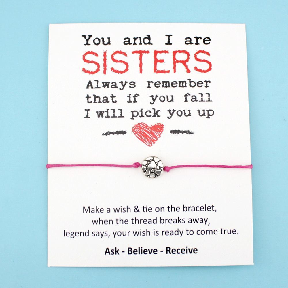 Mädchen Hochzeit Verlobung Bridesmaid Geschenke beste Freunde sind wie kleine Mittel Big Sister Herz Charm-Armbänder für Frauen