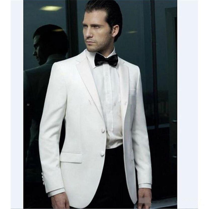 새로운 인기있는 한섬 두 버튼 아이보리 웨딩 신랑 턱시도 노치 옷깃 신랑 맨 남성용 슈트 Prom Blazer (Jacket + Pants + Tie) 249