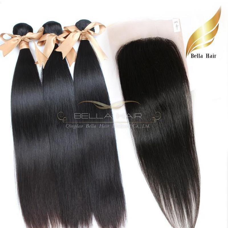 Top Tissages fermeture 4PCS Indian Virgin Remy Hair Extensions Human Trame 3PCS + 1pc Dentelle Fermeture Silky droite Bellahair 8A