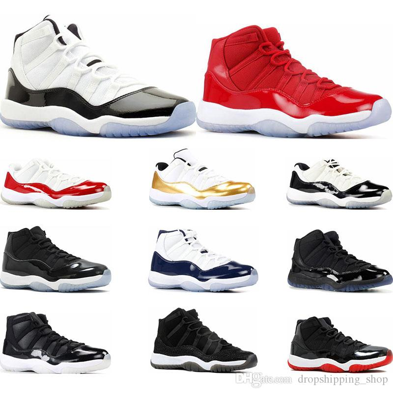 망 농구 신발 11s 콩코드 45 23 플래티넘 색조 무도회 야간 경기장 빨간색 11 육성 된 여성 운동화 운동화 크기 5.5-13