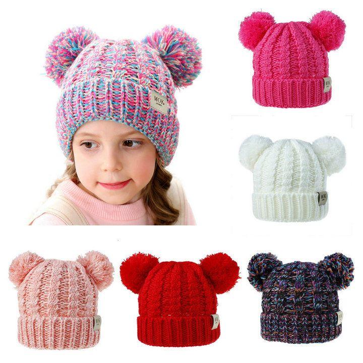 niños sombreros de invierno 12 colores de moda MOK niños Gorros punto de capó Tapas de lujo de diseño del cubo del bebé sombreros calientes casquillo ocasional del sombrero Accesorios