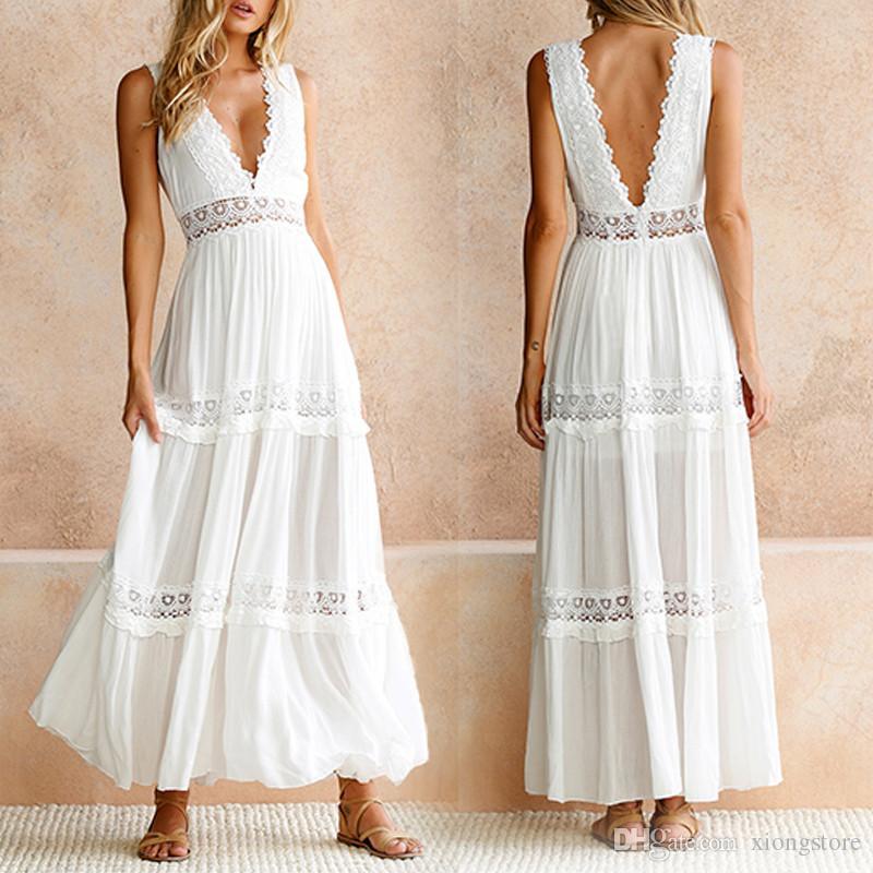2019 V profondo bianco elegante pizzo abito sexy donne Backless scava fuori lunghi abiti lunghi da donna in pizzo abbigliamento femminile S M L XL