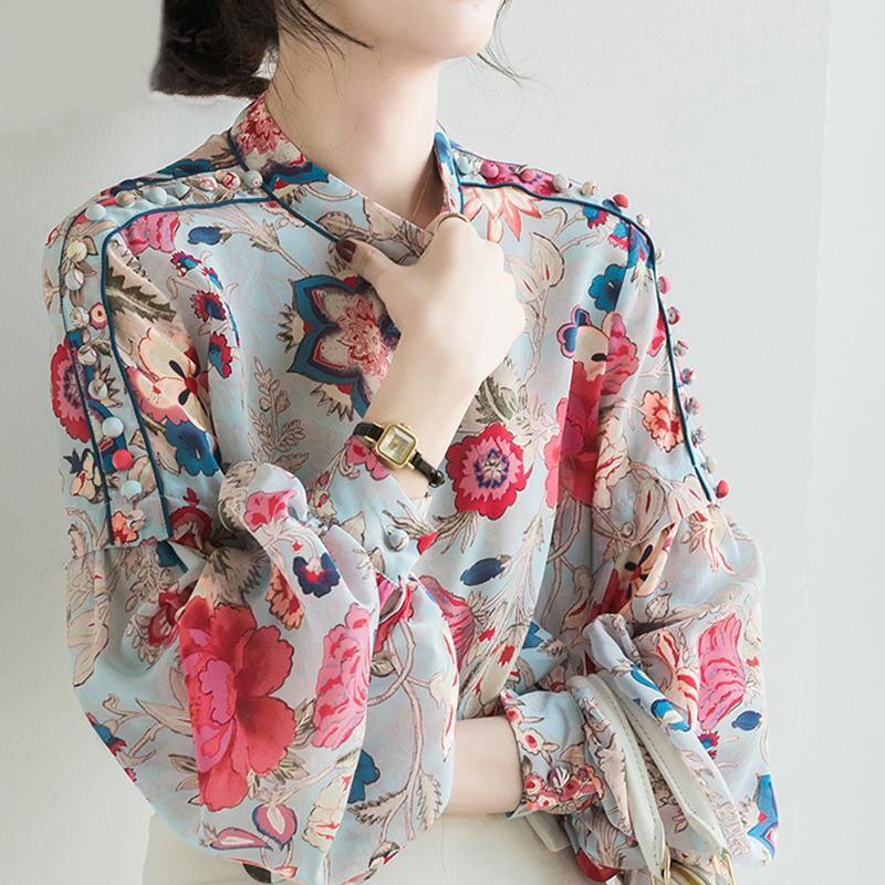 Цветочные печати шифон блузка с длинным рукавом женщин фонариков рукавом Офис леди Повседневный Tops 2020 Летняя Новая мода Женский Сыпучие Рубашки