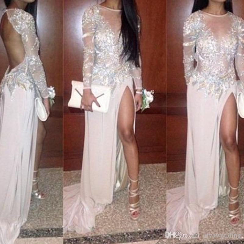 2019 Sexy Long Prom Dresses High Side Split Long Sleeve Jewel Neckline Open Back Party Gowns With Court Train Custom Made New Design