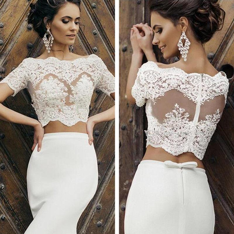 2020 New Handmade Wedding Short Sleeves Jacket Bolero Topper Cover Up Lace Appliques Women White/Ivory Bridal Jackets