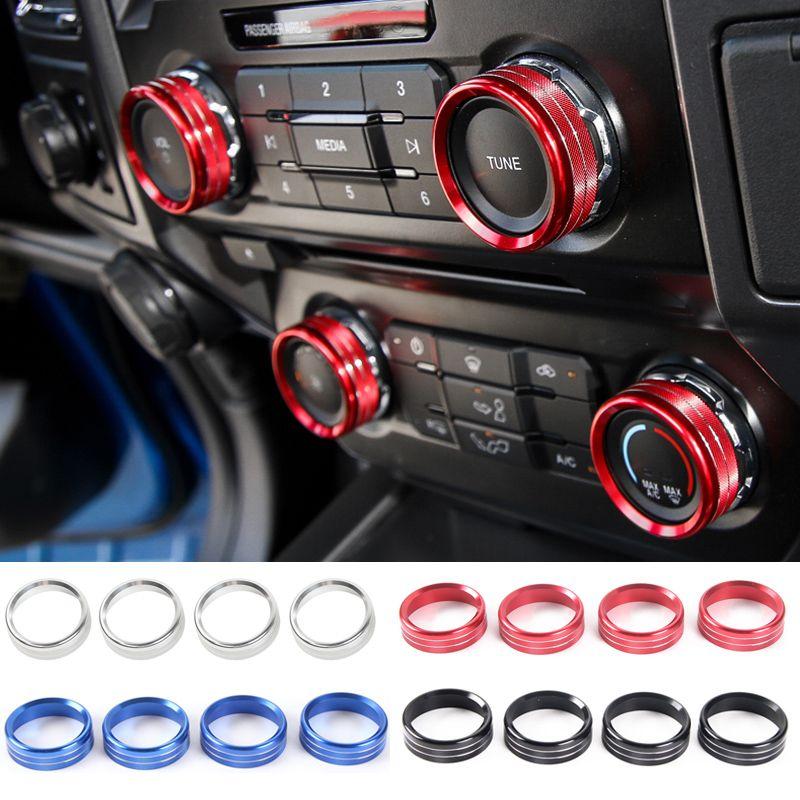 포드 F150 2016+ 높은 품질의 자동차 인테리어 액세서리 에어컨 오디오 사운드 스위치 장식 링