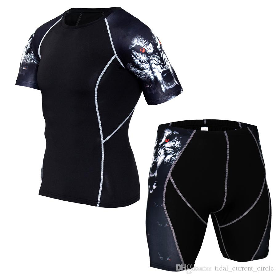 2019 hot gym Men's Sports Fitness Elastic quick drying Short-sleeved shorts suit Trend Exercise Stitching pattern