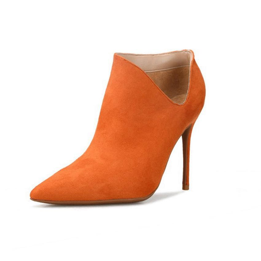 Women Stiletto High Heel Plus Size Ankle Boots Leather Pointed Toe Booties Shoes
