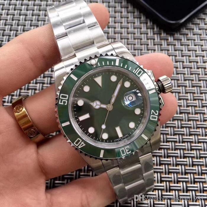 Melhores Azul Verde Qualidade preto pulso Glidelock mecânico automático Ceramic Bezel Men Mens Watch Relógios