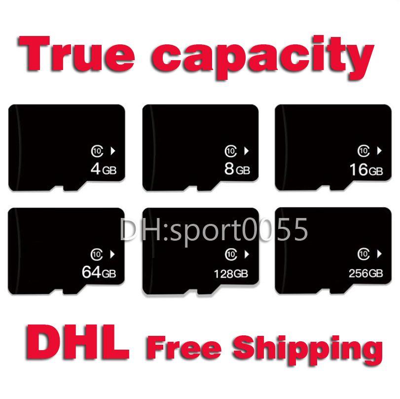 100PCS 실제 용량 마이크로 SD 카드 16기가바이트 32기가바이트 64기가바이트 1백28기가바이트 256기가바이트 클래스 10 마이크로 카드 4기가바이트 8기가바이트 레벨 4 고속 모니터 메모리 카드