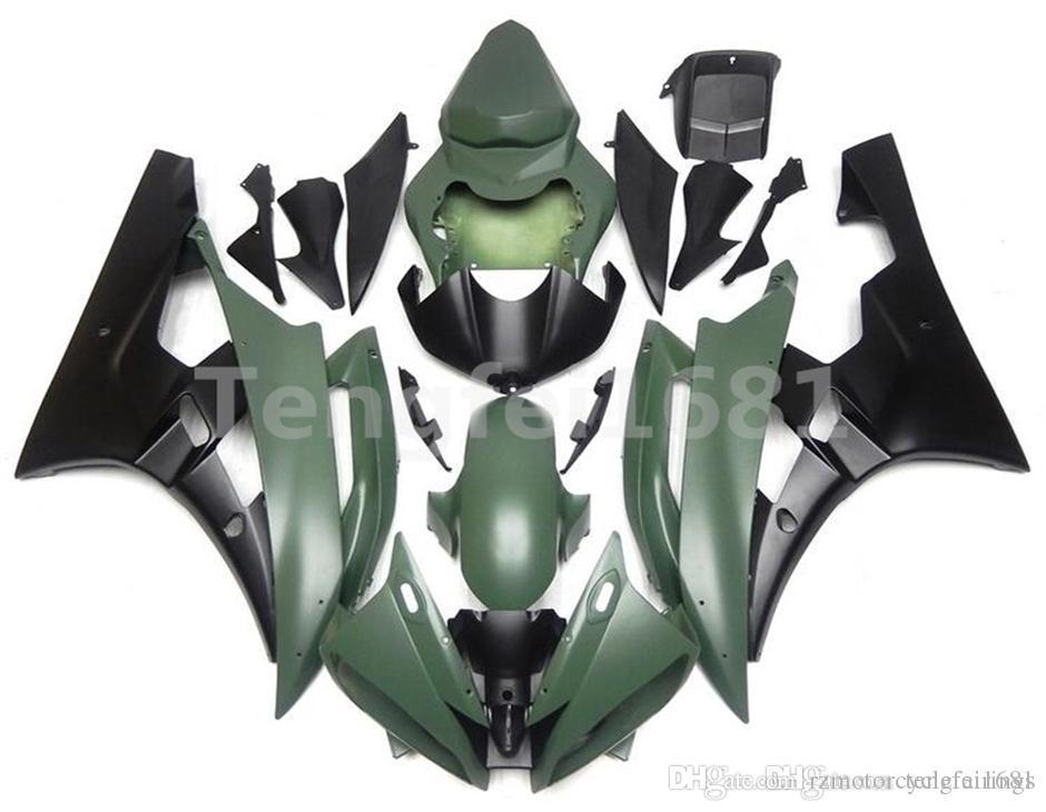 Alta calidad Moldes de Inyección Nuevos ABS kits del carenado de la motocicleta aptos para YAMAHA YZF-R6 YZF600 2006 2007 R6 carrocería personalizada Ejército verde Negro Mate