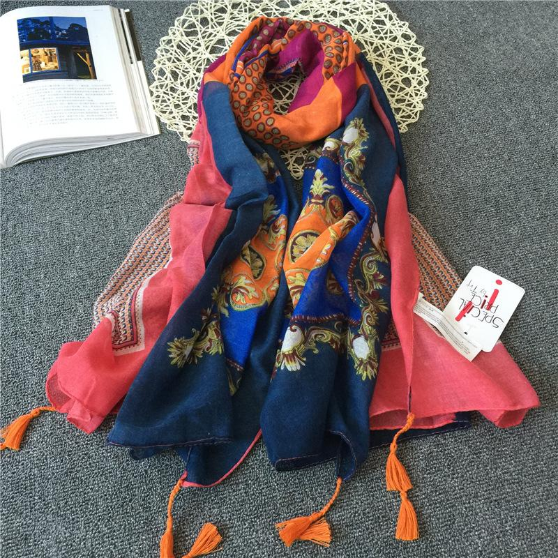 Ladies Fashion Scarf Spring and Summer New Small Fresh Sunscreen Cotton Geometric Pattern Literary Tassel Air Conditioning Shawl