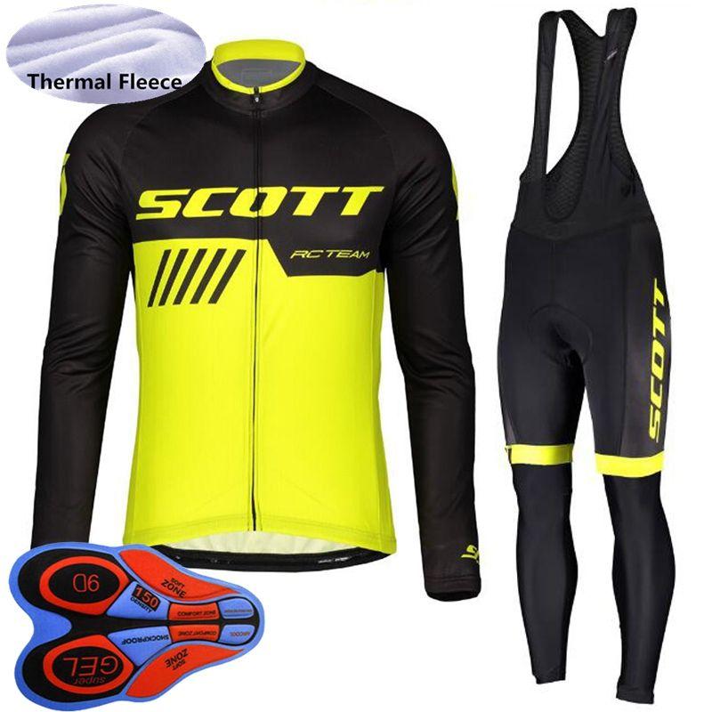 2019 Men SCOTT winter thermal fleece cycling outfits long sleeve cycling jersey bib pants suit mountain bike clothing Sports uniform Y101801