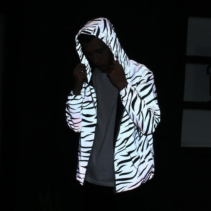 E-Baihui 2021 European and American Trend Men's Stripes Jacket Reflective Windbreaker Youth Casual Night Running Reflective Jacket F161