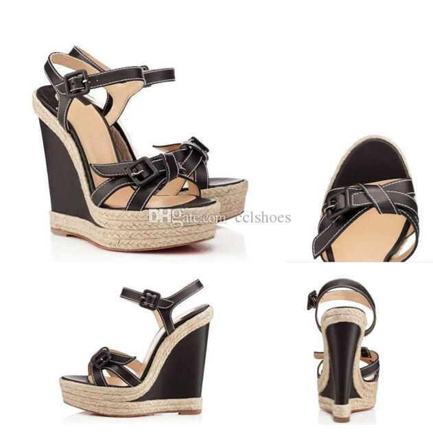 Sommer Damen Wedge Red Bottom Schuhe Strap Frauen Für Frauen High Heels Sandalen Frauen Gladiator Sandalen Berühmte Party Hochzeitskleid EU35-42