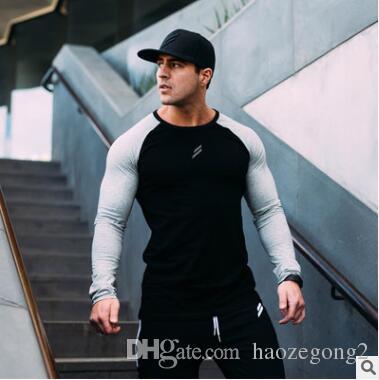 2019 New Plus Size Tshirts Cotton Men Long Sleeve Raglan Tee Casual Tops T-shirts Crew neck Mens Slim Fit Tshirt M-2XL
