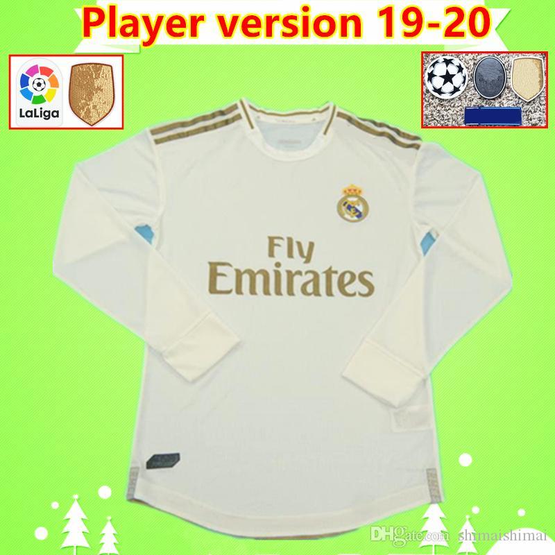 Player 버전 위험 2019 2020 레알 마드리드 축구 유니폼 19 20 벤제마 BALE 긴 소매 축구 셔츠 지단 Camiseta 세르히오 라모스 타이츠