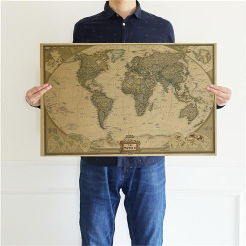 Large Vintage 28*18inch Map Of World Map Office Supplies Detailed Antique Poster