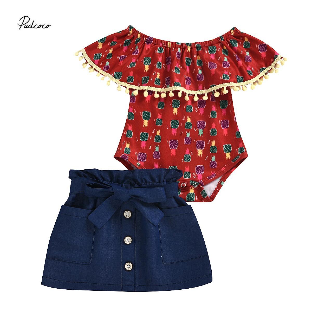 Summer Infant Baby-Ananas-Druck Rüschen Body-Denim-Rock-Kleidung eingestelltes