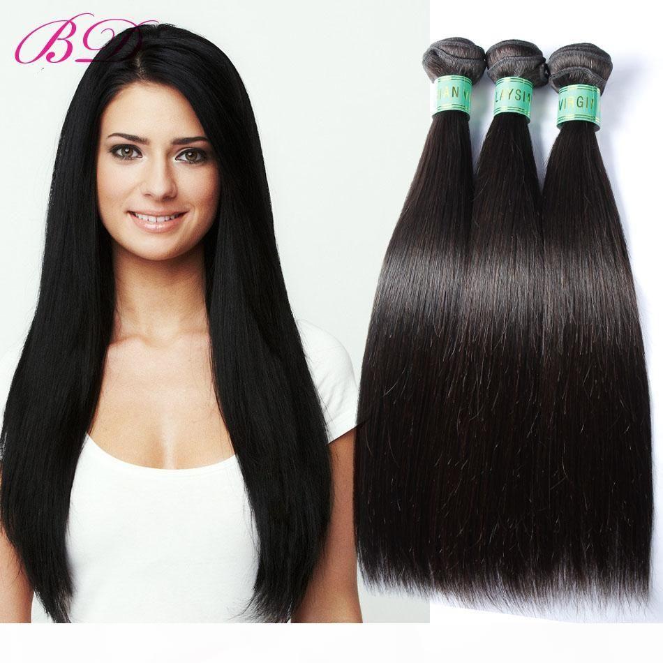 BD Silky droite Extensions Cheveux Cheveux Malaisienne Vague 300 400G Un ensemble de cheveux humains Weave