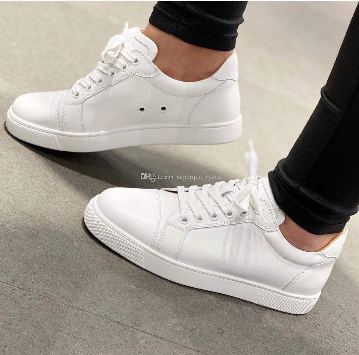 Toptan - Beyaz, Siyah Dolaşık Deri Vieira Rahat Düz Yuvarlak Toe Erkekler Kırmızı Alt Sneakers Ayakkabı Parti Düğün Moda Açık Eğitmenler