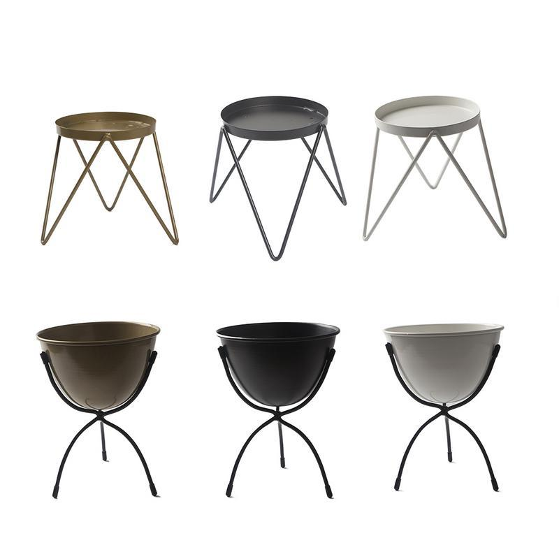 Patio Flower Pot Plant Stand Two Style Choose Metal Tray Flower Stand Triangle Pot Type Living Room Single-Layer Rack