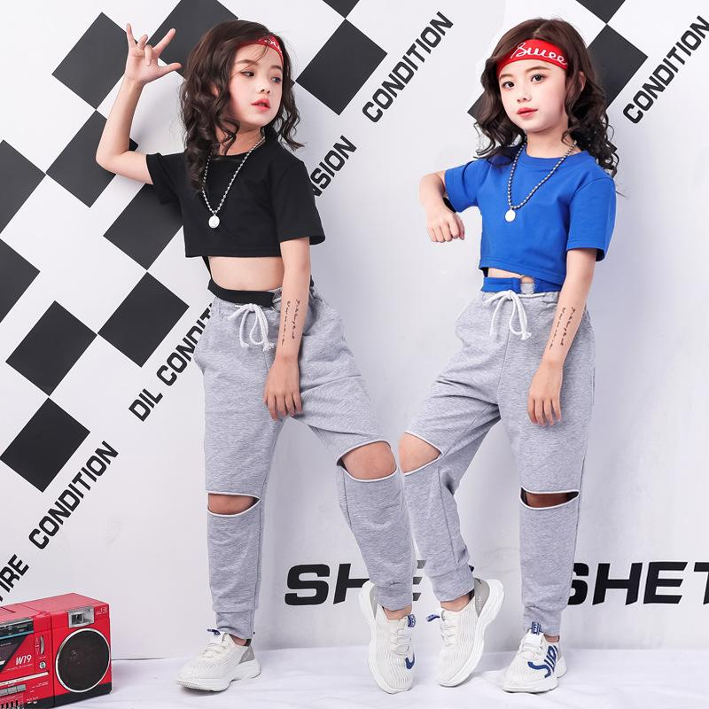 2021 Teenage Girls Clothing Styles Black Blue Summer Crop Tee Shirt Top Blank Short Sleeve And Ripped Pant Dance Set From Anglestore 13 06 Dhgate Com