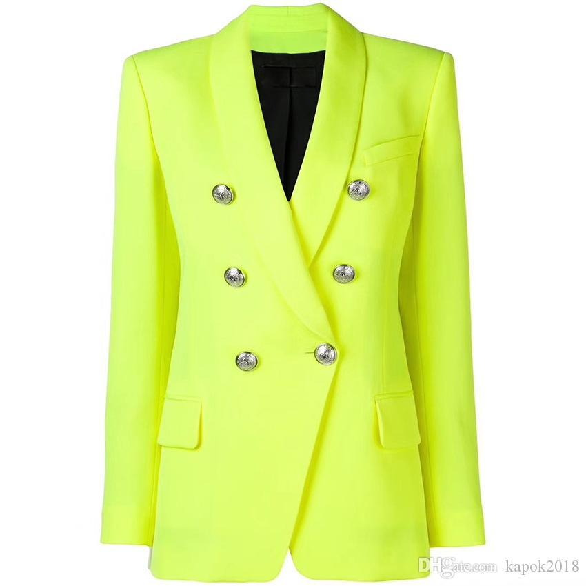 HIGH QUALITY New Fashion 2019 Designer Blazer Womens Classic Lion Buttons Double Breasted Blazer Jacket Fluorescent Yellow blazer female