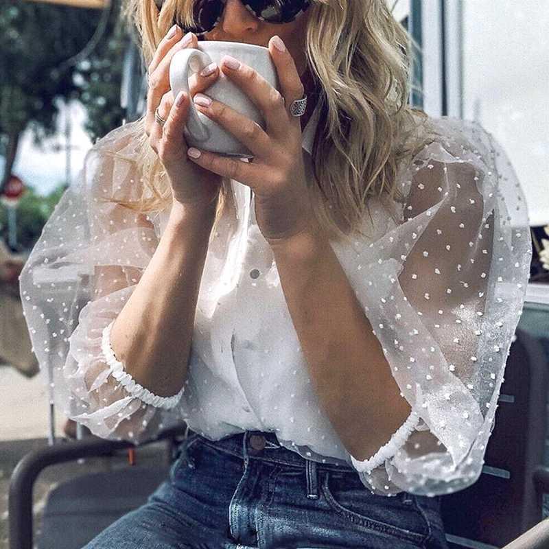 숙녀 투명한 당 정상 휴일 투명한 셔츠 반 소매 블라우스 우연한